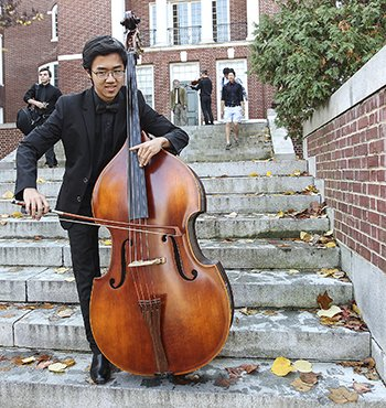Student playing the cello