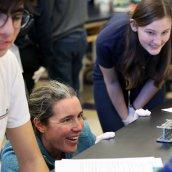 Anne Rankin and Ellie Griffin during a genetics lab.