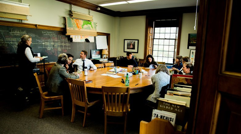 Instructors from multiple schools meet for Harkness training