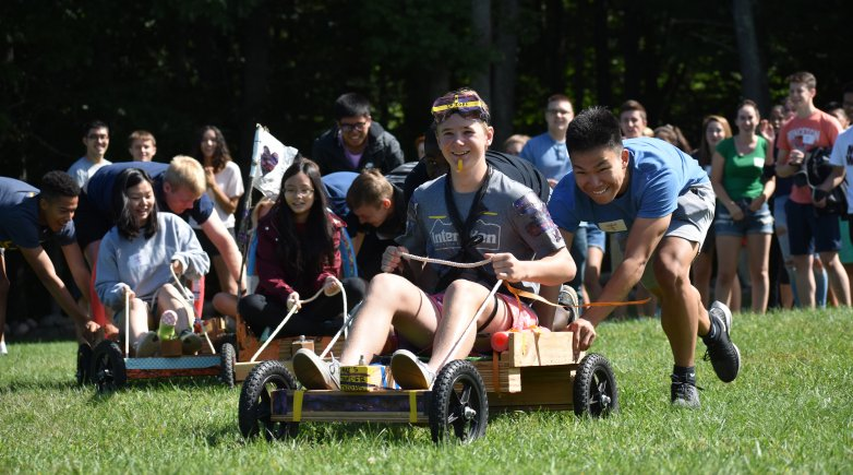 Members of the class of 2021 race go-karts of their own making during Class Activity Day at Alnoba in Kensington.